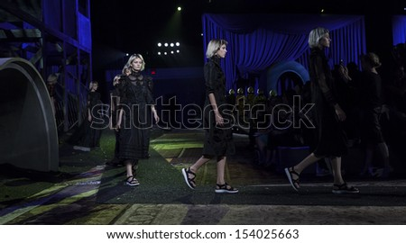 NEW YORK - SEPTEMBER 12: Models walk runway during Spring/Summer 2014 Fashion week for collection by Marc Jacobs at Lexington Avenue Armory on September 12, 2013 in New York
