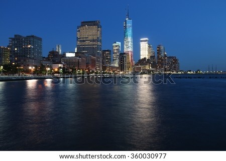 New York skyline, USA - Manhattan night view.