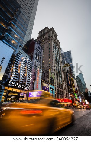 NEW YORK, USA - Apr 30, 2016: W 42nd St in NYC in the evening. 42nd Street is a major crosstown street in the NYC, known for its theaters, especially near intersection with Broadway at Times Square
