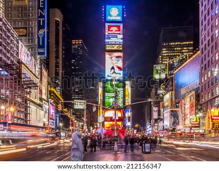 NEW YORK, USA - April 21: Panorama of New York city in the USA showcasing the famous Times Square with its electronic outdoors and neons with lots of tourists and locals passing by on April 21, 2014.