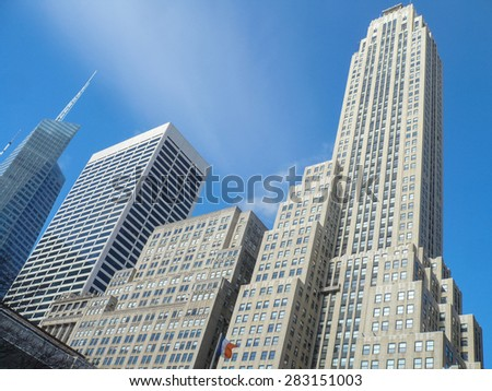 NEW YORK, USA - FEBRUARY 17, 2015: Modern buildings on the 5th Avenue
