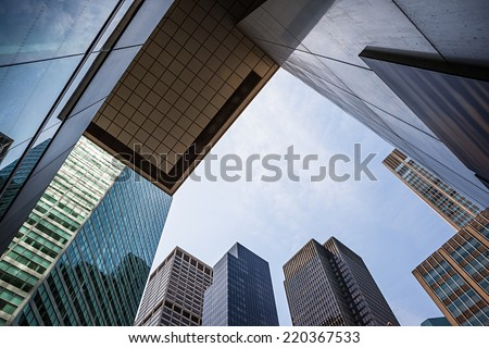 NEW YORK, USA - Jun 01, 2014: Manhattan modern architecture. Manhattan is the most densely populated of the five boroughs of New York City