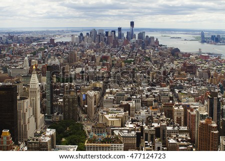 New York, USA- June 26, 2012: Rooftop view of New York City. It is the most densely populated city in the USA.