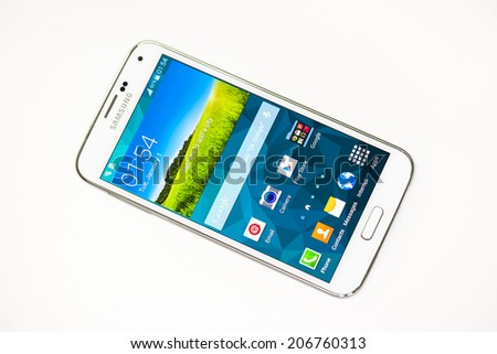 "New York, USA - May 08, 2014: Studio shot of Samsung Galaxy S5 smartphone. The telephone is supported with 5.1"" touch screen display and 1920 x 1080 pixels resolution. Isolated on white background"