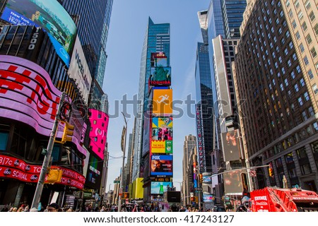NEW YORK, USA - MAY 7, 2016: Unidentified people on the Times Square, New York. Times Square is the most popular tourist location in New York City.