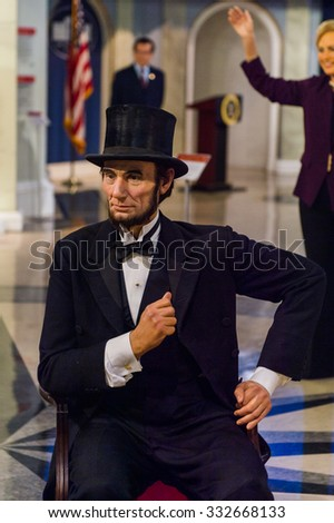 NEW YORK, USA - SEP 22, 2015: Abraham Lincoln in Madame Tussaud  wax museum, TImes Square, New York City. Marie Tussaud was born as Marie Grosholtz in 1761