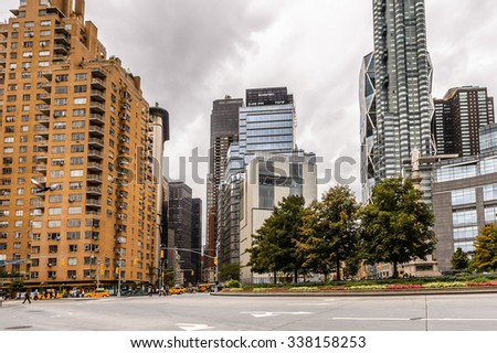 NEW YORK, USA - SEP 22, 2015: Architecture of the Columbus Circle, Manhattan. It is the point from which all official distances from New York City are measured.