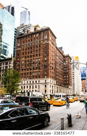 NEW YORK, USA - SEP 22, 2015: Architecture of the 6th avenue (Avenue of the Americas), 6 km long
