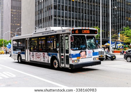 NEW YORK, USA - SEP 22, 2015:Bus going on the 6th avenue (Avenue of the Americas), 6 km long