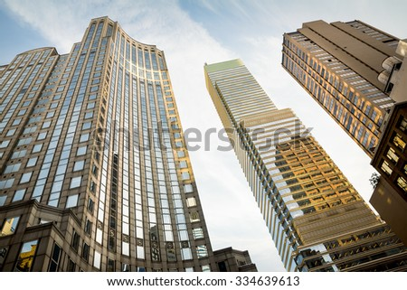 NEW YORK, USA - Sep 27, 2015: Manhattan modern architecture. Manhattan is the most densely populated of the five boroughs of New York City