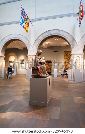 NEW YORK, USA - SEP 25, 2015: One of the multiple rooms of the Metropolitan Museum of Art (the Met), the largest art museum in the United States of America