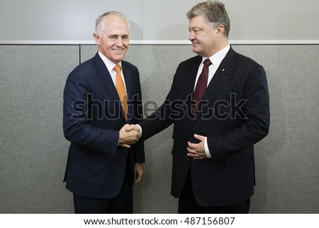 NEW YORK, USA - Sep 21, 2016: President of Ukraine Petro Poroshenko and Australian Prime Minister Malcolm Turnbull during a meeting in New York
