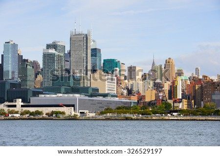 NEW YORK, USA - SEP 25, 2015: Skyscapers of Manhattan, New York City, USA. New York is the most populous city in the United States