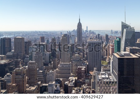 New York, USA - 4 September 2014: View of Lower Manhattan with the Empire State Building clearly seen amongst various skyscrapers.