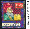 NEW ZEALAND - CIRCA 1998: A stamp printed by New Zealand, shows Magi with Gifts, circa 1998 - stock photo