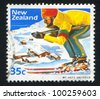 NEW ZEALAND - CIRCA 1984: A stamp printed by New Zealand, shows Skier at Mount Hutt Ski Field, circa 1984 - stock photo