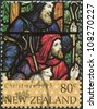 NEW ZEALAND - CIRCA 1995: A stamp printed in New Zealand, is dedicated to Christmas, Stained glass windows, depicted Shepherds, circa 1995 - stock photo