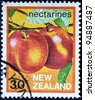 NEW ZEALAND - CIRCA 1983: A stamp printed in New Zealand shows Nectarines, circa 1983 - stock photo