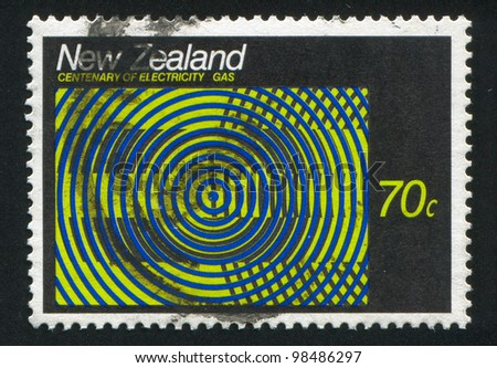 NEW ZEALAND - CIRCA 1988: stamp printed by New Zealand, shows abstraction emblem Gas, circa 1988