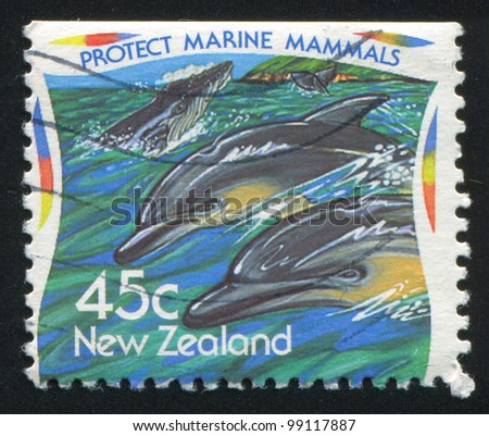 NEW ZEALAND - CIRCA 1995: stamp printed by New Zealand, shows Environmental protection, marine mammals, dolphins, circa 1995