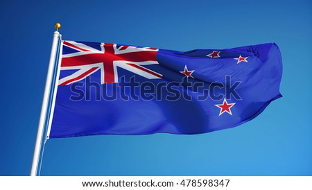 New Zealand flag waving against clean blue sky, close up, isolated with clipping path mask alpha channel transparency