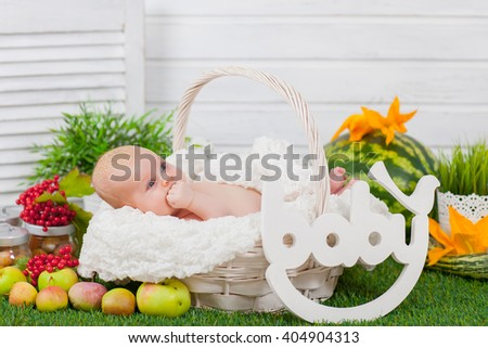 newborn in basket with fruits and vegetables