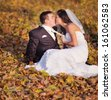 Newly wed couple sitting on autumn leaves. Groom and bride together. - stock photo