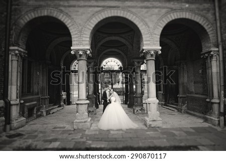 newlywed near the old brick arches