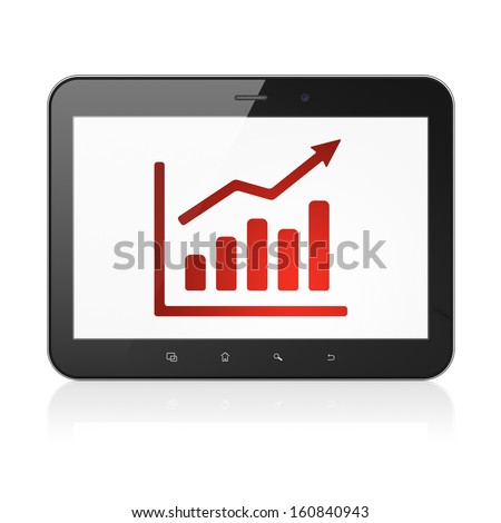 News concept: black tablet pc computer with Growth Graph icon on display. Modern portable touch pad on White background, 3d render