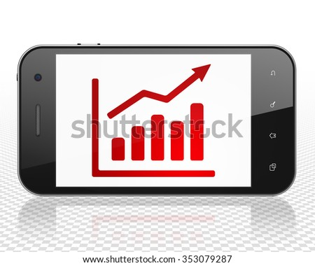 News concept: Smartphone with red Growth Graph icon on display