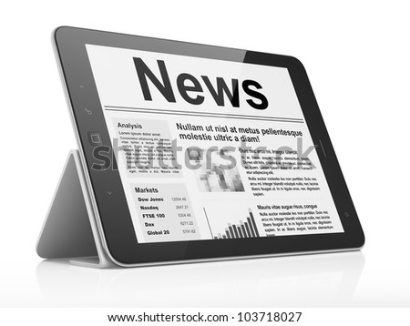 Newsletter concept: Digital news on tablet pc computer screen, 3d render