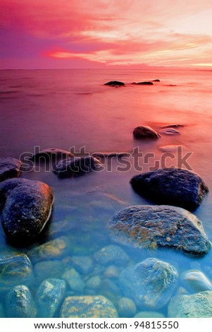 Nice and colorful sunset in sea
