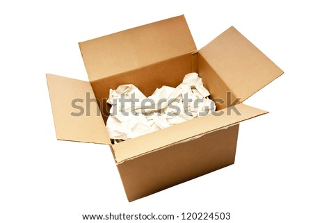 Nice big cardboard box with packing paper opened up ready for someone to start packing stuff and getting ready to move or ship.  Isolated on white.