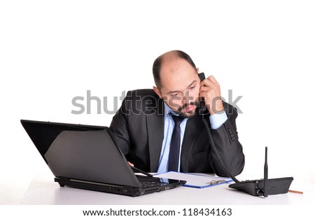 nice businessman with a laptop on a white background