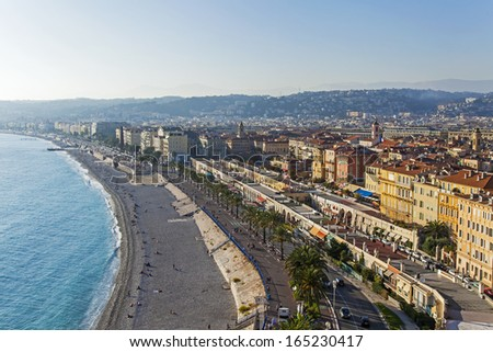 Nice, Cote dâ??Azur, France- October 16, 2013:Panorama of the beach and the Promenade des Anglais. Promenade des Anglais built in XIX century and is one of the central streets of the city