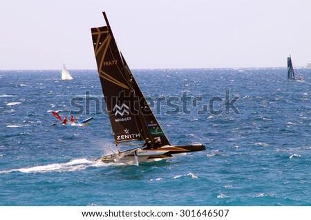 "NICE, France - JULY 2015, 25 : Le tour de France a la Voile . ACT  9. Coastal Race.The Trimaran ""SPINDRIFT"" is the winner of the competition.(started on July 3 Th - ended on July  26)"