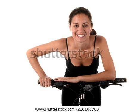Nice image of a latino Woman on a bicycle