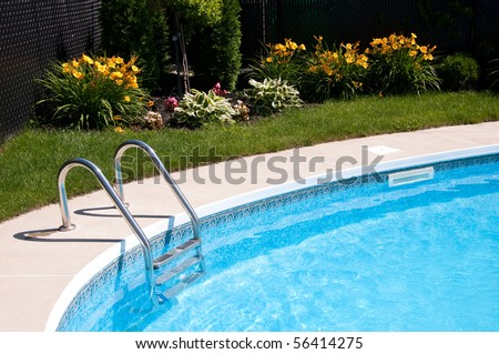 Nice pool with bright flowers in the background