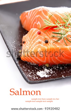 Nice raw pieces of salmon