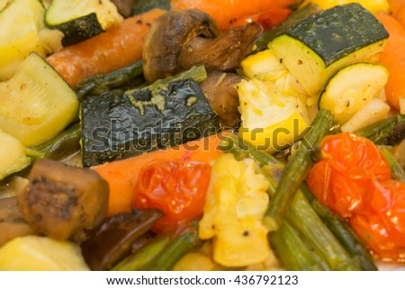 Nice shots of healthy vegetable marinated and roasted in the oven