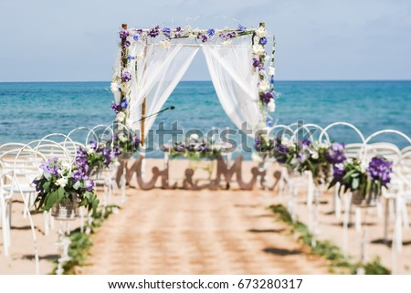 Nice View Of A Decorated Path For The Wedding Ceremony On Beach Violet Flowers