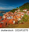 Nice view on the famous city of Cudillero, Spain - stock photo