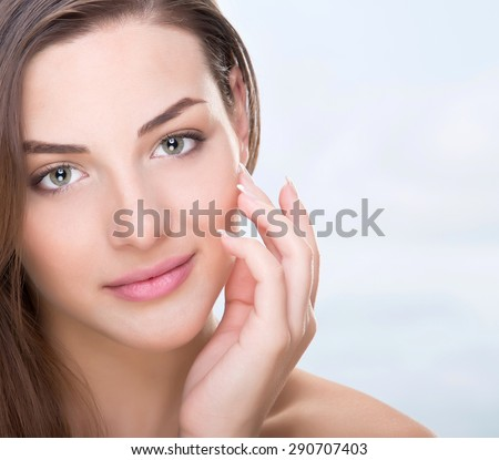 stock photo nice woman face and hands 290707403