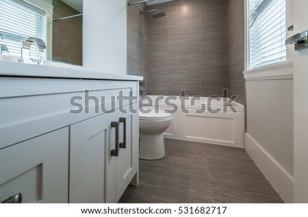 Modern ensuite bathroom shower cabin floor stock photo - Nicely decorated bathrooms ...