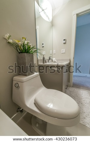 Simple elegant white half bathroom wainscot stock photo - Nicely decorated bathrooms ...