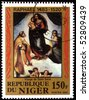 "NIGER - CIRCA 1983: A stamp printed in Republic Niger shows draw by Raphael ""Sistine Madonna"", circa 1983 - stock photo"
