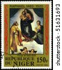 "NIGER - CIRCA 1983: A Stamp shows Raphael's painting ""Sistine Madonna"", circa 1983 - stock photo"