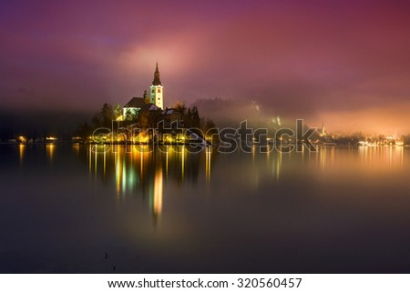 Night at the lake Bled in winter, Slovenia, Europe