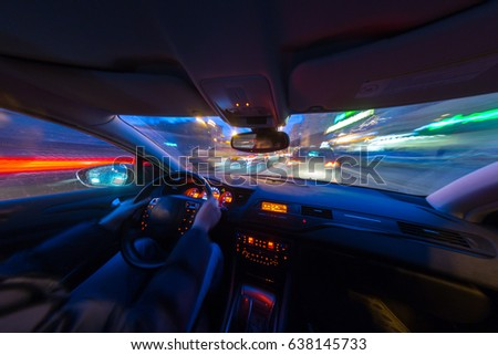 Driver passenger driving on rainy night stock photo 12073321 night city road view from inside car sciox Choice Image