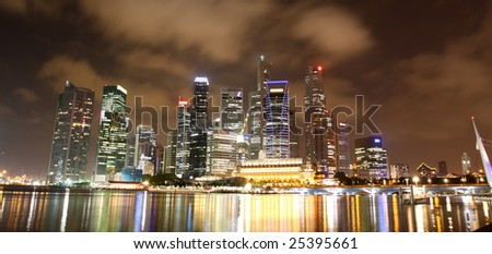 Night cityscape of Singapore's business district